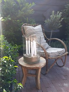 Love this hurricane lamp with taper candles in sand. Hurricane Lamps, Outdoor Chairs, Outdoor Decor, House With Porch, Decorated Jars, Autumn Garden, Small Patio, Outdoor Projects, Garden Styles