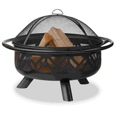 UniFlame Outdoor Fire Bowl with Geometric Design - Oil Rubbed Bronze Finish - A fetching geometric design and gorgeous oil-rubbed bronze finish makes this fire pit a beautiful accent to your patio or deck. With 36 inches of diameter, this bowl allows for a large fire to warm all of your guests on a cool evening. A sturdy base helps to prevent tipping, and the mesh lid helps to prevent the sparks from flying out of the bowl.