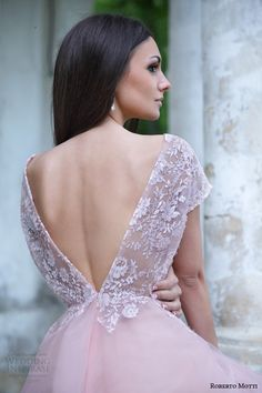 roberto motti bridal 2015 donatella cap sleeve pink wedding dress back view