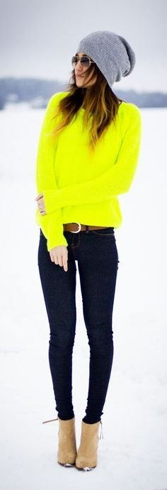 Love that neon sweater!!