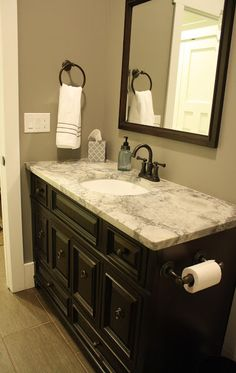 my bathroom- colors for the walls, trim and cabinet: grey