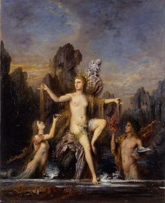 Venus Rising from the Sea by Gustave Moreau, 1866. Current location: Israel Museum,  Jerusalem. Gustave Moreau (1826 - 1898) was a French Symbolist painter whose main emphasis was the illustration of biblical and mythological figures. As a painter, Moreau appealed to the imaginations of some Symbolist writers and artists.