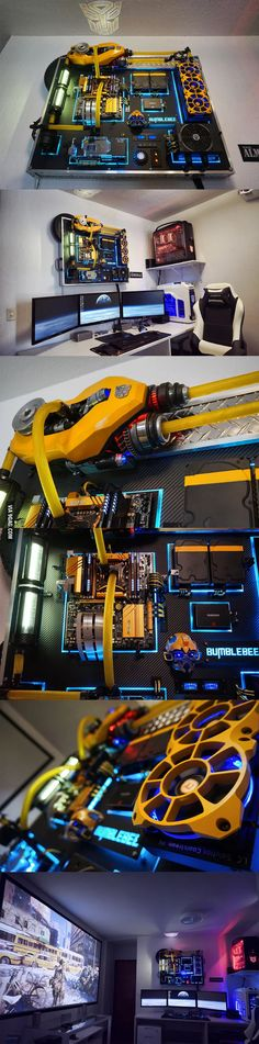 """I just finished my wall-mounted PC """"Bumblebee"""". What do you guys think? => Looking for a superb deal? ==> Find the link in description! Computer Build, Computer Setup, Computer Case, Gaming Computer, Gaming Pc Build, Computer Station, Gaming Room Setup, Pc Setup, Desk Setup"""