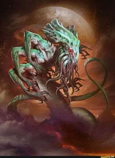 The Ancient One - Hearthstone: Heroes of Warcraft Wiki Fantasy Monster, Monster Art, Creature Concept Art, Creature Design, Arte Horror, Horror Art, Necronomicon Lovecraft, Lovecraft Cthulhu, Hp Lovecraft