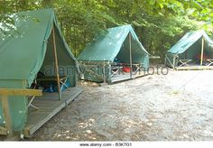 Canvas tent at Boy Scout summer camp - Stock Image