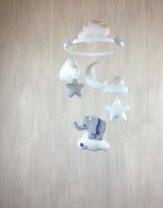 Baby mobile elepahant mobile nursery by JuniperStreetDesigns