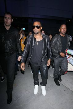 Kanye West. Music. Idol. Icon. Rap. Star. Fashion. APC. Clothing. Men. Street Style. Details. Simple. Leather. Materials. Black White. Layers. Sunglasses. Active. Attitude. KING.
