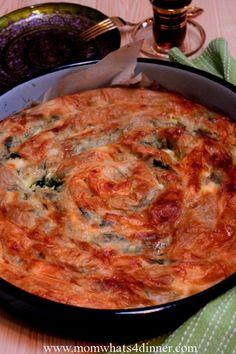 Swirled Spinach Burek on http://momwhats4dinner.com/swirled-spinach-burek/