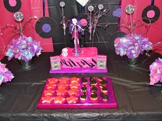 """POP STAR PARTY - Stage cake; triple layered choc brownie cake covered in hot pink chocolate frosting and black fondant icing tiger stripes.  Topped with """"Monster High"""" pop star."""