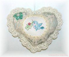 Hanging Heart Aqua Embroidered Bird Shabby Chic ♥ by Kittyandme, $13.95