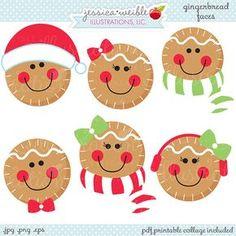 Pan de jengibre caras linda Navidad Digital Clipart OK de uso | Etsy
