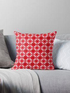 Christmas spirit pattern 1 by Silvia Ganora  Get ready for Christmas! :)  #christmas #pattern #red #lights #design #holidays #seasonal #festive #pillows #throwpillows #homedecor #decor #redbubble