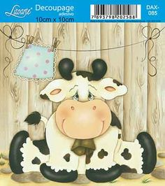 Litoarte                                                                                                                                                                                 Mais Decoupage Vintage, Decoupage Jars, Tole Painting, Fabric Painting, Painting On Wood, Art For Kids, Crafts For Kids, Cartoon Cow, Cow Pictures