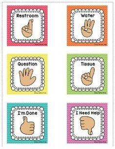 Hand Signals for the Classroom, EDITABLE Classroom Management Rainbow Chevron - Best Of Daily Sharing Kindergarten Classroom Decor, Classroom Procedures, Classroom Signs, 3rd Grade Classroom, Classroom Organisation, Classroom Behavior, Classroom Themes, Classroom Activities, Classroom Management