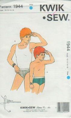 Vintage 1989 Kwik Sew 1944 Boys' Briefs in Two Styles. Sewing Pattern Size 10 12 14 16 Waist 25 - 28