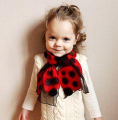 Home › maliposha › Accessories  Baby black chiffon scarf ''Lady bird'' with felted wool elements /hmet/eco friendly/rusteam / team madcap/ unusual design/