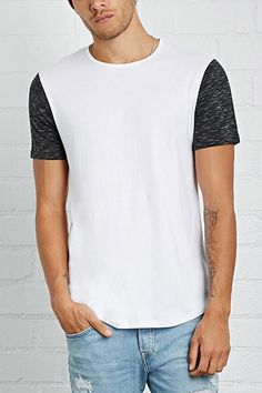 Style Deals - A heathered knit tee with a ribbed crew neck and contrast marled-knit short sleeves.