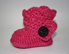 Hot Pink Wraparound Infant Bootie Handmade by anniekscreations