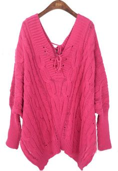 Pink Batwing Sleeve Backless Pullovers Sweater  looks so comfy!