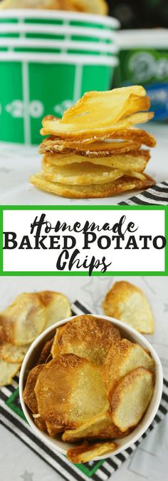 Homemade Baked Potato Chips, #DeansDreamBig, #ad, #CBias, football snacking, bacon dip, baked #chips in oven