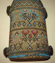 19c-ANTIQUE-Old-Vintage-Beaded-Beadwork-Glass-Bottle-Amazing-miniature-beads