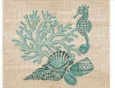 Vintage coral Seahorse shells Digital download graphic image for iron on fabric transfer burlap decoupage pillows tote bags paper