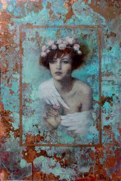 Art of Francois Fressinier - Photos Art Du Collage, Mixed Media Collage, L'art Du Portrait, Kunst Online, Painting Wallpaper, Klimt, Figure Painting, Medium Art, Figurative Art