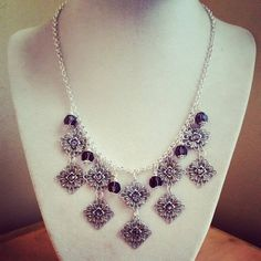 Silver necklace with amethyst crystal and by ILoveBeads247 on Etsy