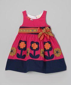 Look what I found on #zulily! Fuchsia & Purple Flower Dress - Infant, Toddler & Girls #zulilyfinds