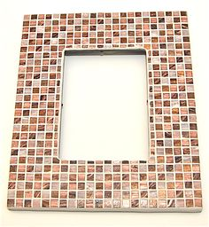 Brown and copper mosaic tile picture frame.