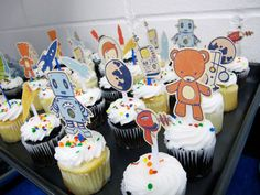 """cute cupcake toppers... they remind me a little of one of our favorite children's books """"harry & horsie"""""""