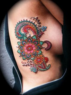 I'm always keen on doing colorful henna-paisley jacobean style tattoos - on women and men..: