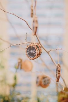 Unique green and sustainable favors are a huge hit! These hand lettered tree slice ornaments are precious and Eco-freindly! #cedarwoodweddings Magical Provincial Inspired Cedarwood Wedding | Cedarwood Weddings