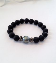 Tahitian Pearl, Diamond Bead, and Onyx Bead Bracelet - Beaded bracelet -Diamond Bracelet - Black Beads