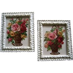 Two c1890 Roses Die Cut Print s Matching Pair Chromolithograph Tuck Buy now at Victorian Rose Prints on rubylane.com