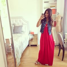 Nothing like a simple maxi dress & a jean vest!
