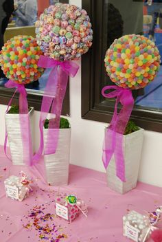 Kimble Khronicles: My Little Party Planner DIY candy topiary ideas for decorating