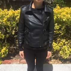 ASOS Faux leather moto jacket in black ASOS Faux leather moto jacket in black. 3/4 sleeve with zipper fixture. Visible wear on left arm. More images can be posted upon request. Price is firm, no trades. ASOS Jackets & Coats