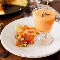 Sweet Potato Frittata with Tomato Salsa and Melon Soup with Ginger