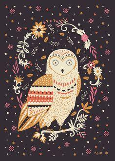 illustration, animal, owl, pattern, design, naive, floral, frame.