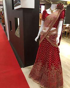 Wedding Lehnga, Indian Bridal Lehenga, Indian Bridal Outfits, Indian Designer Outfits, Indian Dresses, Half Saree Designs, Sari Blouse Designs, Lehenga Designs, Bridal Lehenga Collection