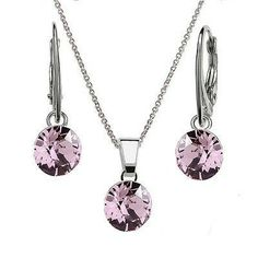 Ebay-bp_natural_uk- 925 Sterling Silver Dangle Earrings Necklace Set XIRIUS Crystals from Swarovski®-Light Amethyst-Earrings-$8.95,Necklace -$6.96,Set-$15.29
