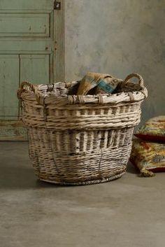 Champagne Grape Baskets - Vintage Wicker Baskets, Antique Woven Baskets, Woven Wicker Baskets | Soft Surroundings~☆~
