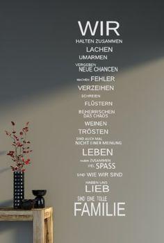 WIR sind eine Familie... - Spruch - Wandtattoo Aufkleber 92x24cm B323-V (weiß): Amazon.de: Küche & Haushalt
