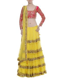 Yellow and Magenta Sequined Net Lehenga