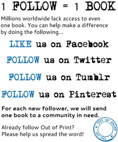 Please Repin! 1 Follow on Pinterest=1 Book donated to a community in need!
