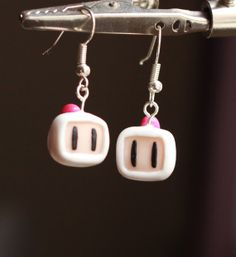 Bomberman earrings - polymer clay - classic nintendo geekdom!