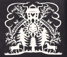 - Scherenschnitte, The Art of Papercutting - Peggy McClard Antiques - Americana & Folk Art Paper Pot, Cut Paper, Middle School Art Projects, Paper Cutting Patterns, German Folk, Polish Folk Art, Newspaper Art, Origami, Scandinavian Folk Art