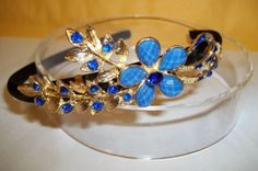 NWT-WOMENS-COVERED-METAL-HEADBAND-WITH-COLORFUL-RHINESTONES-FLOWER-H