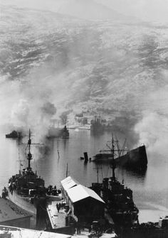 Second battle of Narvik – Royal Navy sinks eight German destroyers and one U-boat in the Norwegian fjords. Photo shows wrecked German shipping in Narvik Bay after an attack by British warships, April Narvik, Merchant Navy, Old Port, Tromso, Navy Ships, Royal Navy, World War Two, Ww2, Norway